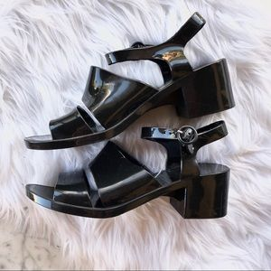 American Apparel Jelly Chunky Heels Black Size 10